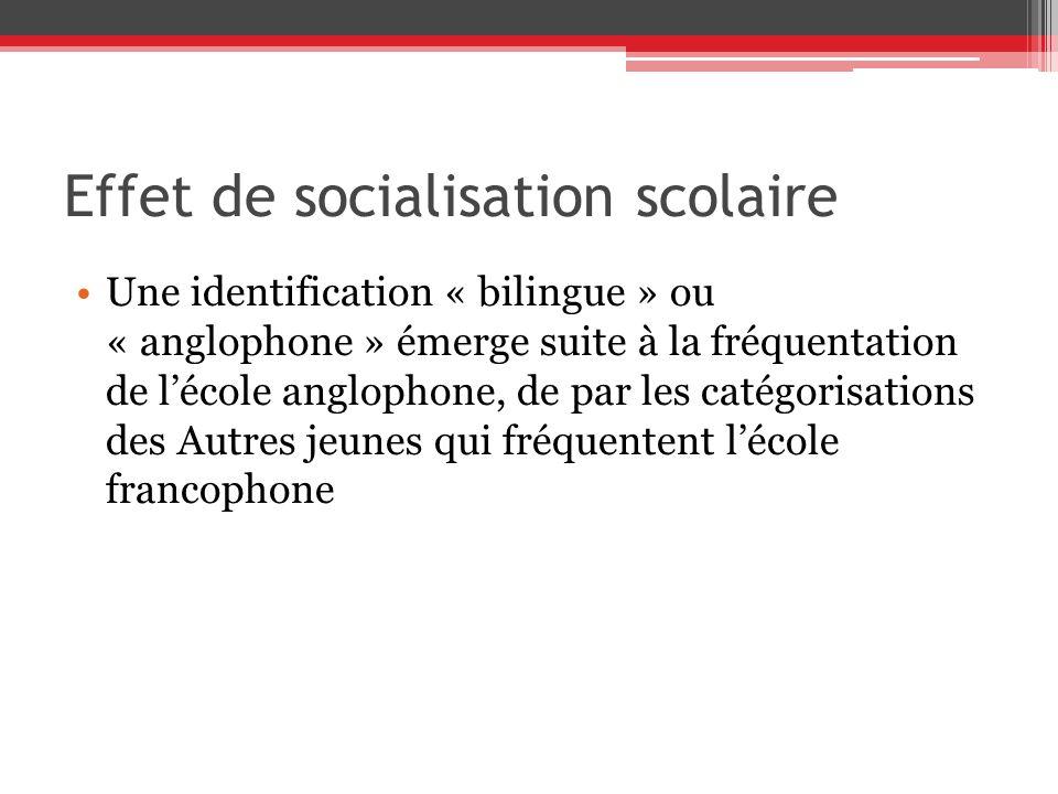 Effet de socialisation scolaire Une identification « bilingue » ou « anglophone » émerge suite à la fréquentation de lécole anglophone, de par les catégorisations des Autres jeunes qui fréquentent lécole francophone