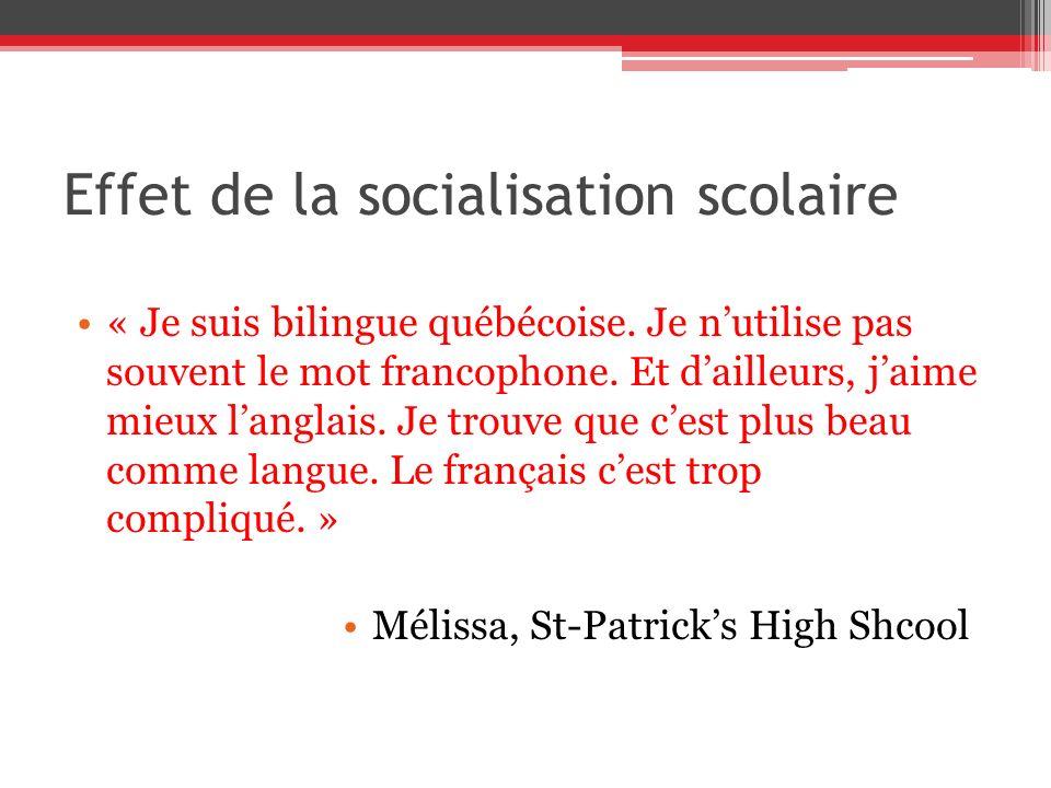 Effet de la socialisation scolaire « Je suis bilingue québécoise. Je nutilise pas souvent le mot francophone. Et dailleurs, jaime mieux langlais. Je t