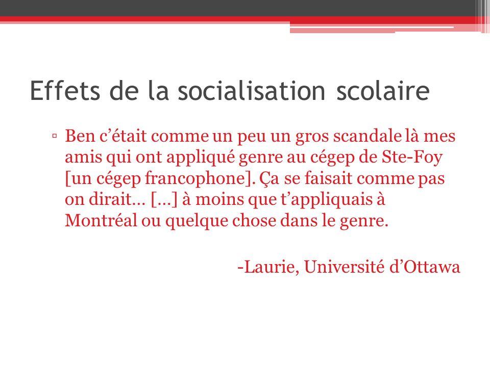 Effets de la socialisation scolaire Ben cétait comme un peu un gros scandale là mes amis qui ont appliqué genre au cégep de Ste-Foy [un cégep francophone].