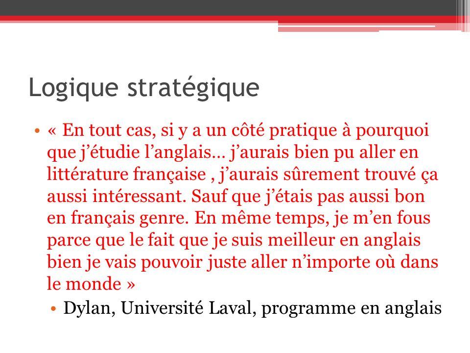 Logique stratégique « En tout cas, si y a un côté pratique à pourquoi que jétudie langlais… jaurais bien pu aller en littérature française, jaurais sûrement trouvé ça aussi intéressant.