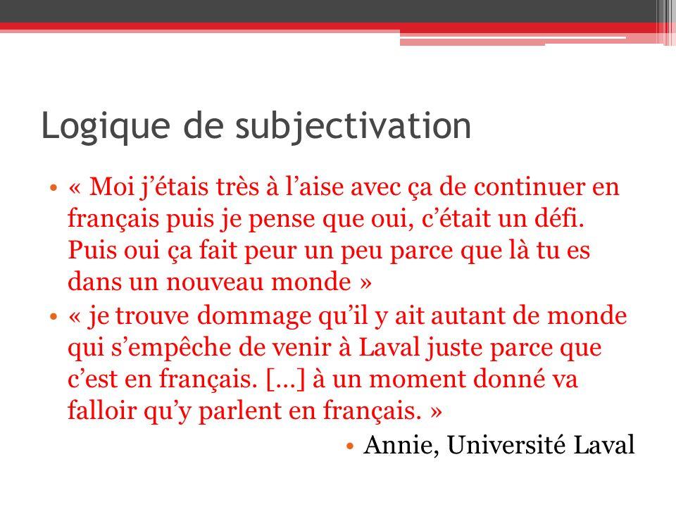 Logique de subjectivation « Moi jétais très à laise avec ça de continuer en français puis je pense que oui, cétait un défi. Puis oui ça fait peur un p