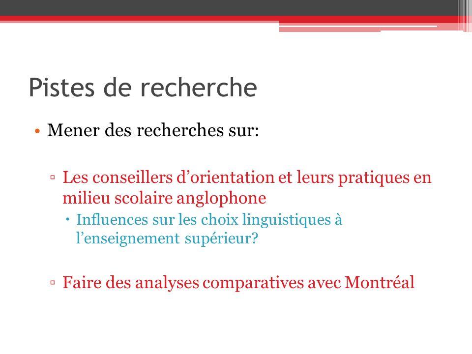 Pistes de recherche Mener des recherches sur: Les conseillers dorientation et leurs pratiques en milieu scolaire anglophone Influences sur les choix linguistiques à lenseignement supérieur.