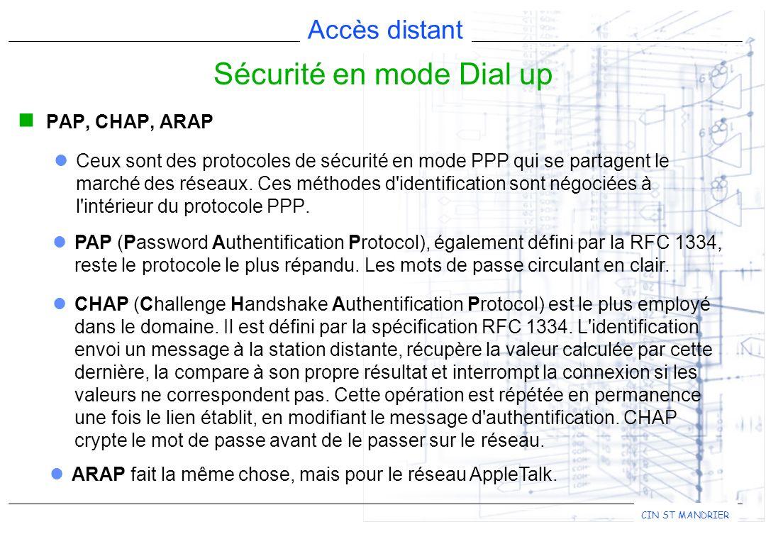 Accès distant CIN ST MANDRIER PAP, CHAP, ARAP Ceux sont des protocoles de sécurité en mode PPP qui se partagent le marché des réseaux. Ces méthodes d'