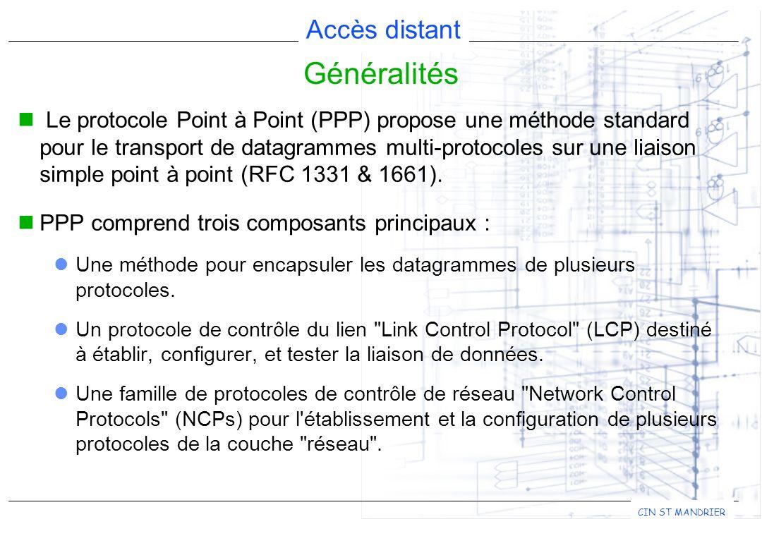 Accès distant CIN ST MANDRIER Généralités Le protocole Point à Point (PPP) propose une méthode standard pour le transport de datagrammes multi-protoco