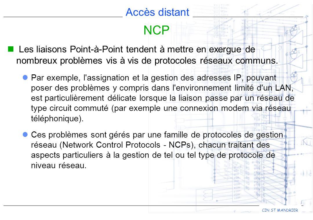 Accès distant CIN ST MANDRIER NCP Les liaisons Point-à-Point tendent à mettre en exergue de nombreux problèmes vis à vis de protocoles réseaux communs