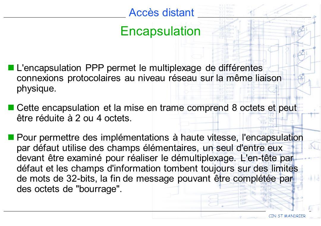 Accès distant CIN ST MANDRIER L'encapsulation PPP permet le multiplexage de différentes connexions protocolaires au niveau réseau sur la même liaison