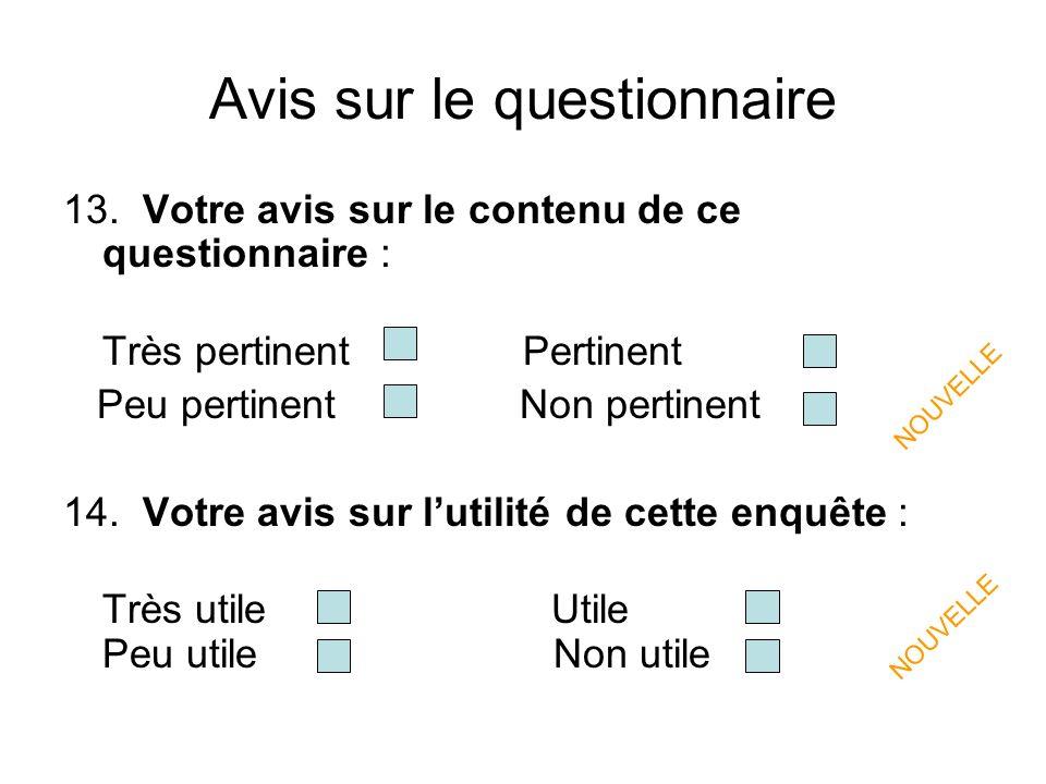 Avis sur le questionnaire 13.