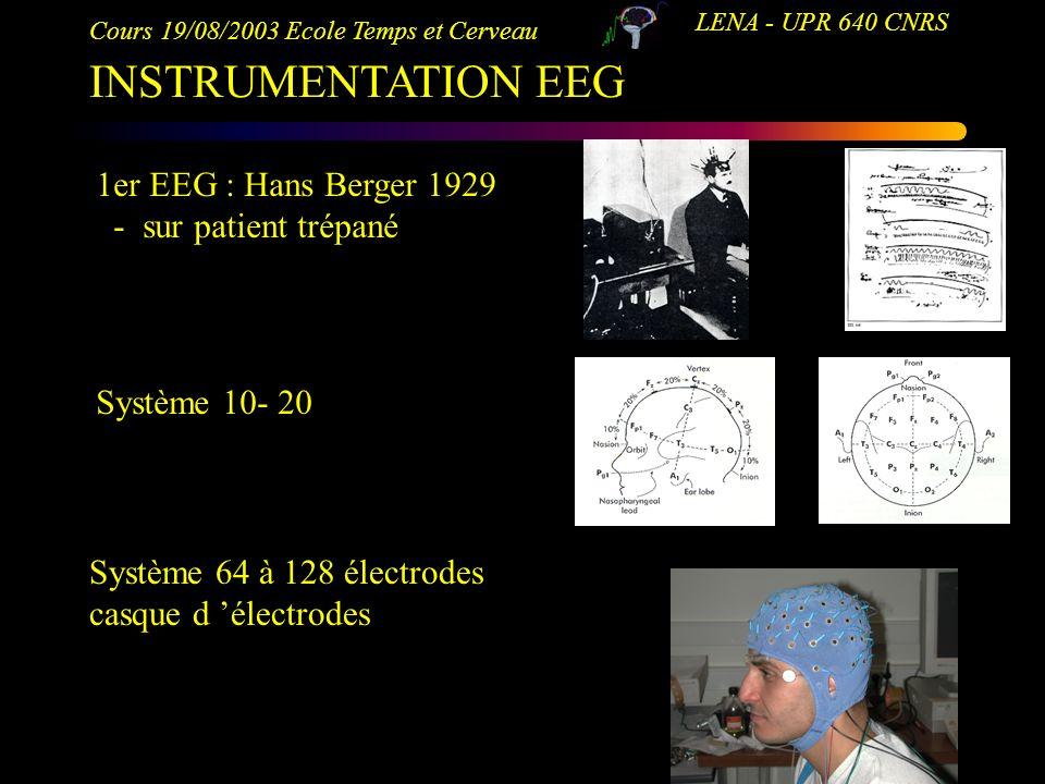Cours 19/08/2003 Ecole Temps et Cerveau LENA - UPR 640 CNRS INSTRUMENTATION EEG 1er EEG : Hans Berger 1929 - sur patient trépané Système 10- 20 Systèm