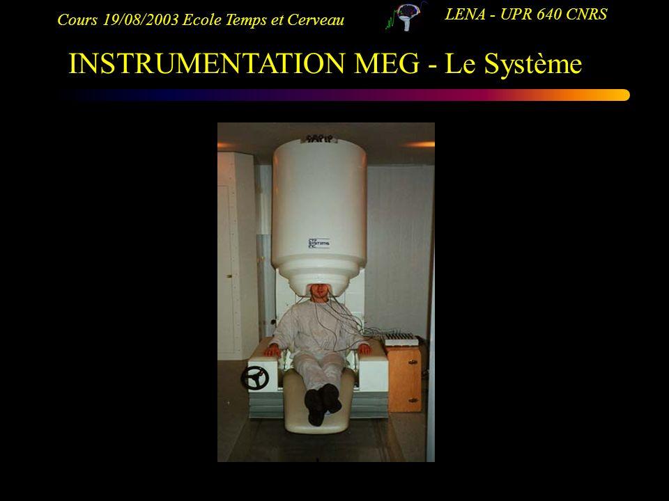 Cours 19/08/2003 Ecole Temps et Cerveau LENA - UPR 640 CNRS INSTRUMENTATION MEG - Le Système