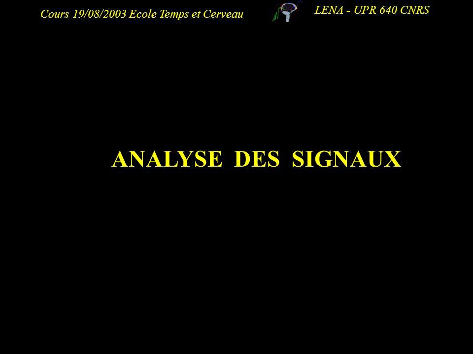 Cours 19/08/2003 Ecole Temps et Cerveau LENA - UPR 640 CNRS ANALYSE DES SIGNAUX