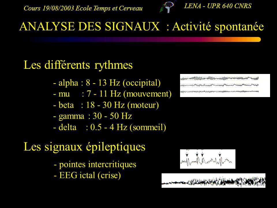 Cours 19/08/2003 Ecole Temps et Cerveau LENA - UPR 640 CNRS ANALYSE DES SIGNAUX : Activité spontanée Les différents rythmes - alpha : 8 - 13 Hz (occip
