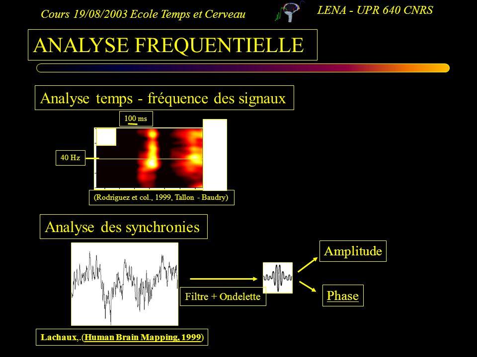 Cours 19/08/2003 Ecole Temps et Cerveau LENA - UPR 640 CNRS ANALYSE FREQUENTIELLE Analyse temps - fréquence des signaux Analyse des synchronies (Rodri