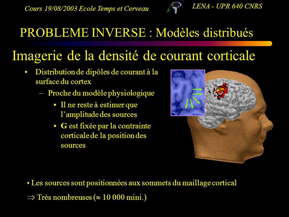 Cours 19/08/2003 Ecole Temps et Cerveau LENA - UPR 640 CNRS Imagerie de la densité de courant corticale Distribution de dipôles de courant à la surfac