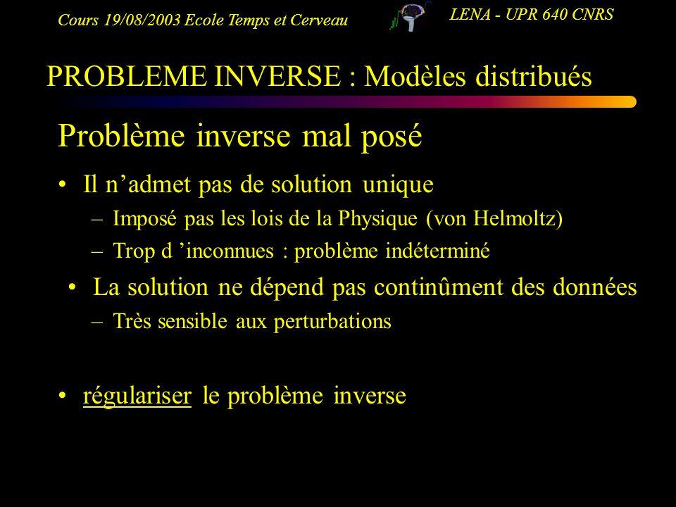 Cours 19/08/2003 Ecole Temps et Cerveau LENA - UPR 640 CNRS Problème inverse mal posé Il nadmet pas de solution unique –Imposé pas les lois de la Phys