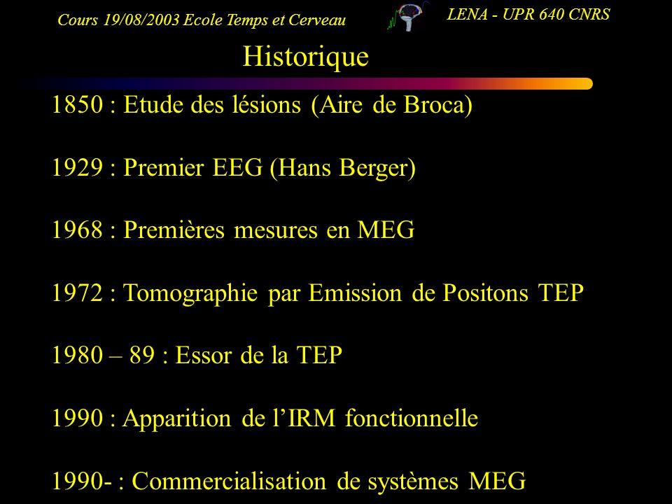 Cours 19/08/2003 Ecole Temps et Cerveau LENA - UPR 640 CNRS Historique 1850 : Etude des lésions (Aire de Broca) 1929 : Premier EEG (Hans Berger) 1968
