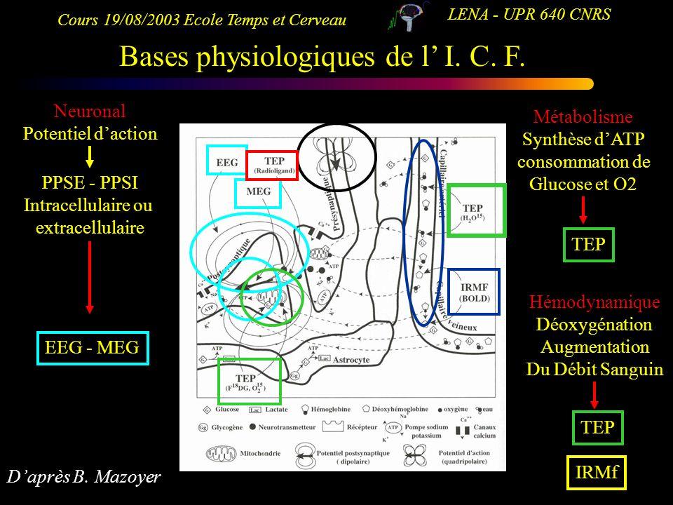 Cours 19/08/2003 Ecole Temps et Cerveau LENA - UPR 640 CNRS Bases physiologiques de l I. C. F. Métabolisme Synthèse dATP consommation de Glucose et O2