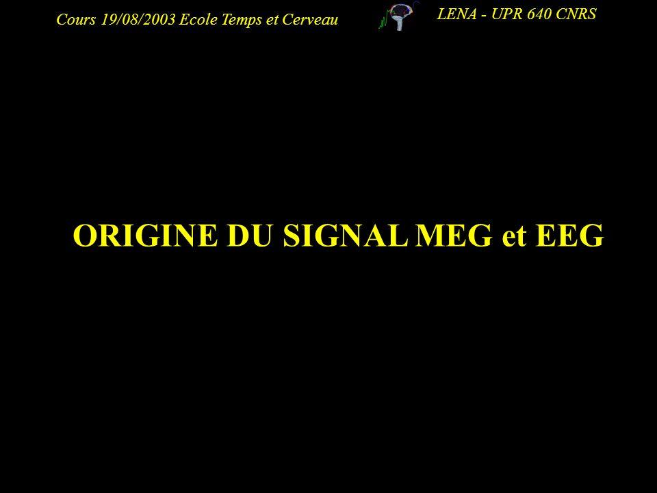 Cours 19/08/2003 Ecole Temps et Cerveau LENA - UPR 640 CNRS ORIGINE DU SIGNAL MEG et EEG