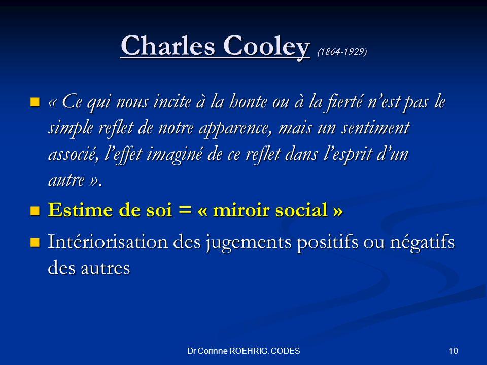 Charles Cooley (1864-1929) « Ce qui nous incite à la honte ou à la fierté nest pas le simple reflet de notre apparence, mais un sentiment associé, lef