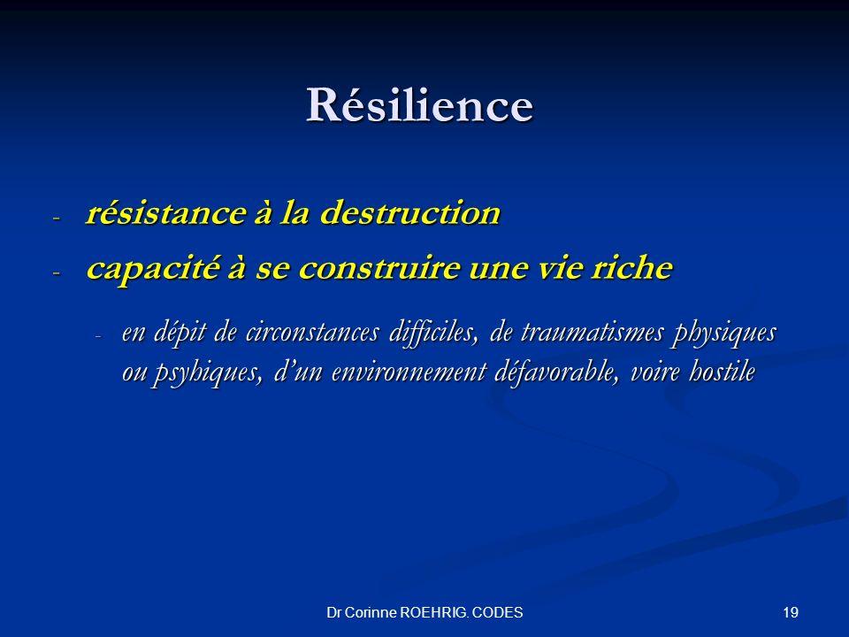 Dr Corinne ROEHRIG. CODES Résilience - résistance à la destruction - capacité à se construire une vie riche - en dépit de circonstances difficiles, de