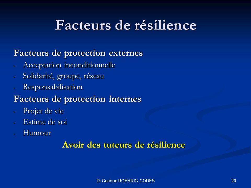 Dr Corinne ROEHRIG. CODES Facteurs de résilience Facteurs de protection externes - Acceptation inconditionnelle - Solidarité, groupe, réseau - Respons