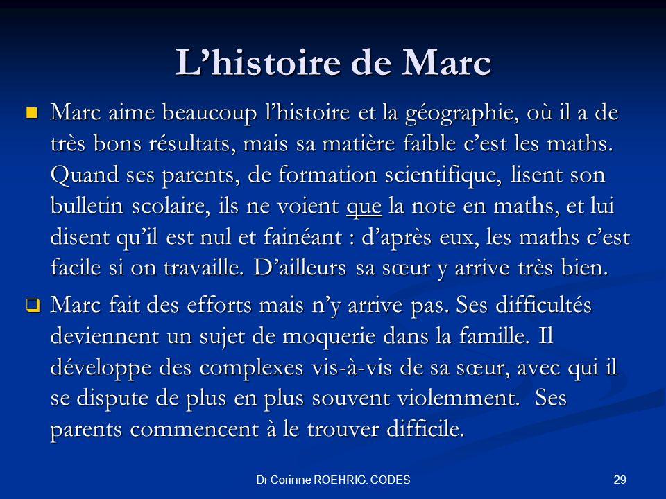 Dr Corinne ROEHRIG. CODES Lhistoire de Marc Marc aime beaucoup lhistoire et la géographie, où il a de très bons résultats, mais sa matière faible cest