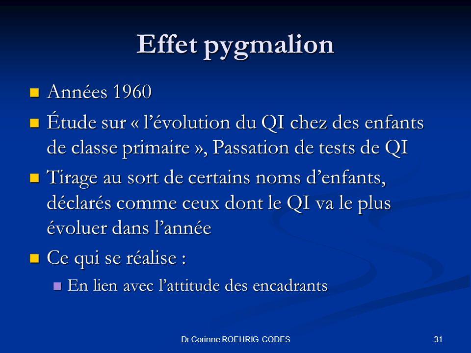 Effet pygmalion Années 1960 Années 1960 Étude sur « lévolution du QI chez des enfants de classe primaire », Passation de tests de QI Étude sur « lévol