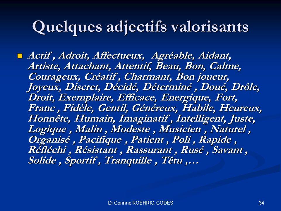 Quelques adjectifs valorisants Actif, Adroit, Affectueux, Agréable, Aidant, Artiste, Attachant, Attentif, Beau, Bon, Calme, Courageux, Créatif, Charma