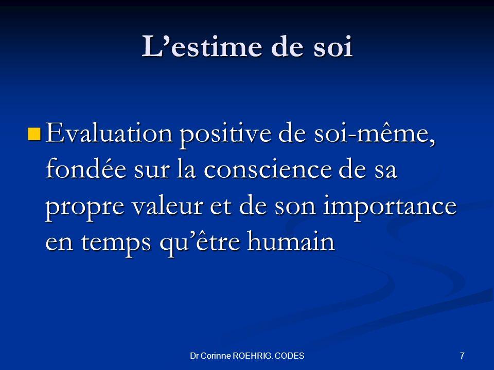Lestime de soi Evaluation positive de soi-même, fondée sur la conscience de sa propre valeur et de son importance en temps quêtre humain Evaluation po