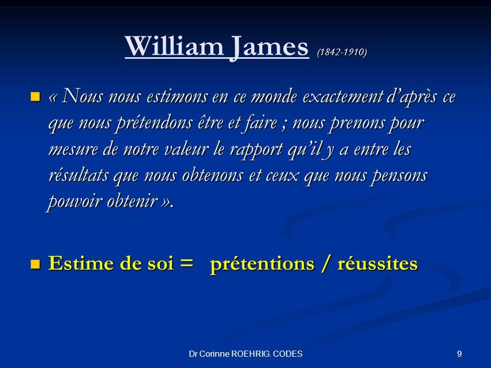 (1842-1910) William James (1842-1910) « Nous nous estimons en ce monde exactement daprès ce que nous prétendons être et faire ; nous prenons pour mesu