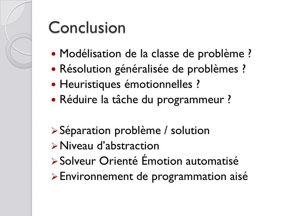 Conclusion Modélisation de la classe de problème ? Résolution généralisée de problèmes ? Heuristiques émotionnelles ? Réduire la tâche du programmeur