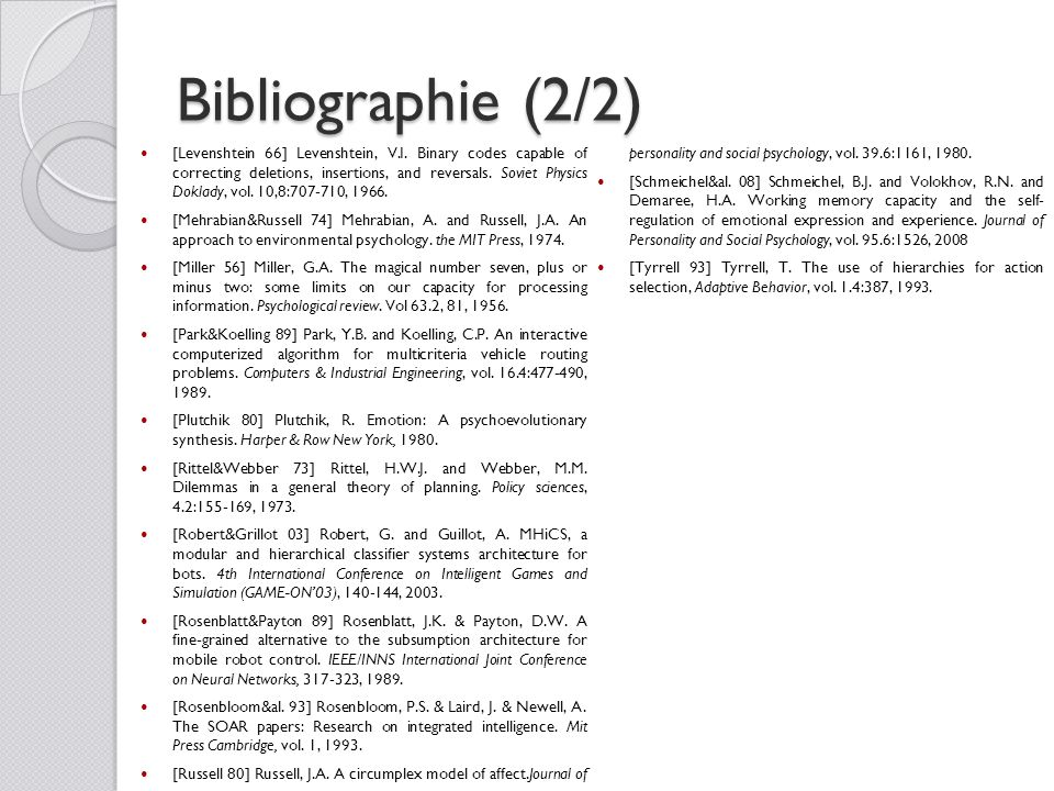 Bibliographie (2/2) [Levenshtein 66] Levenshtein, V.I. Binary codes capable of correcting deletions, insertions, and reversals. Soviet Physics Doklady
