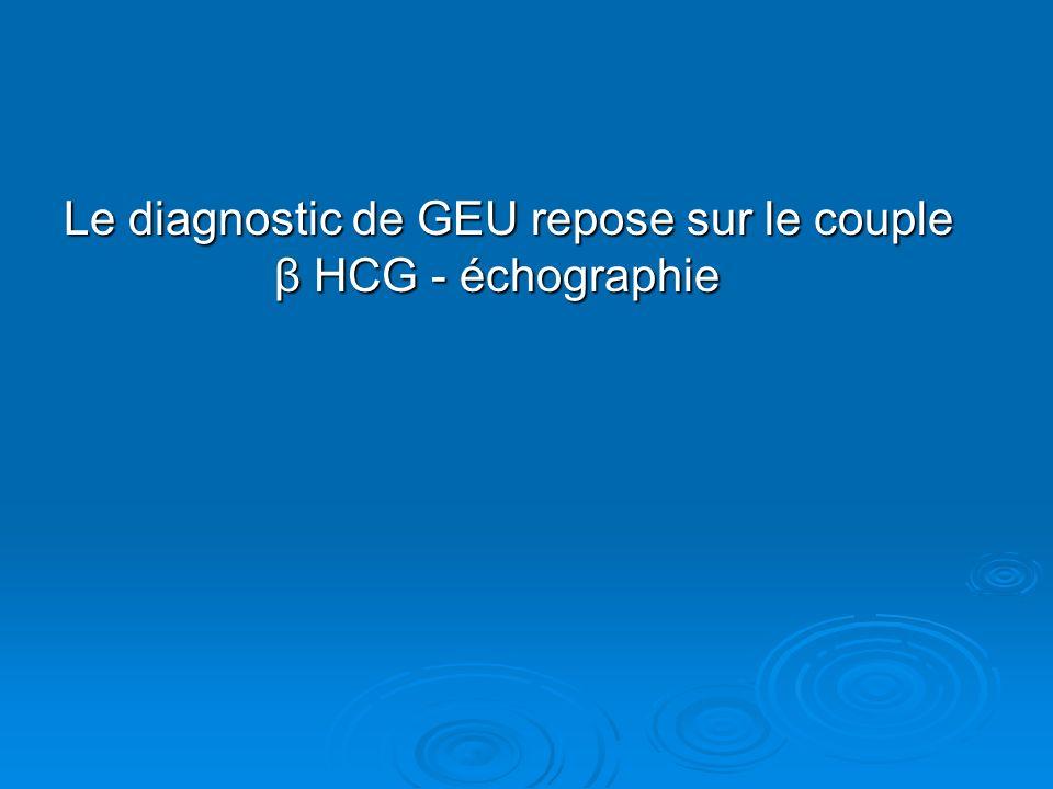 Le diagnostic de GEU repose sur le couple β HCG - échographie