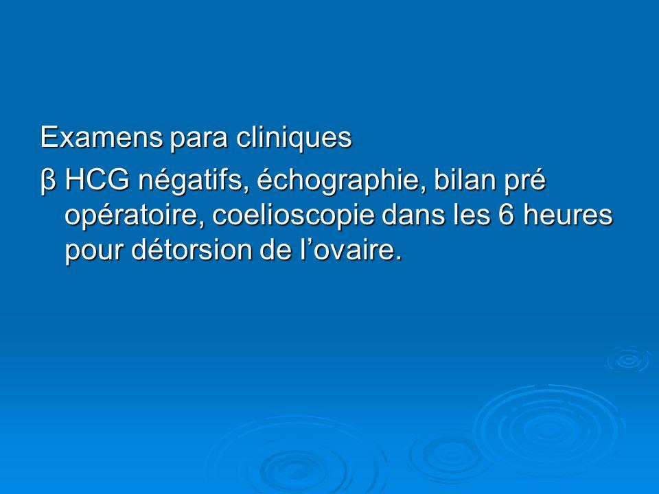 Examens para cliniques β HCG négatifs, échographie, bilan pré opératoire, coelioscopie dans les 6 heures pour détorsion de lovaire.