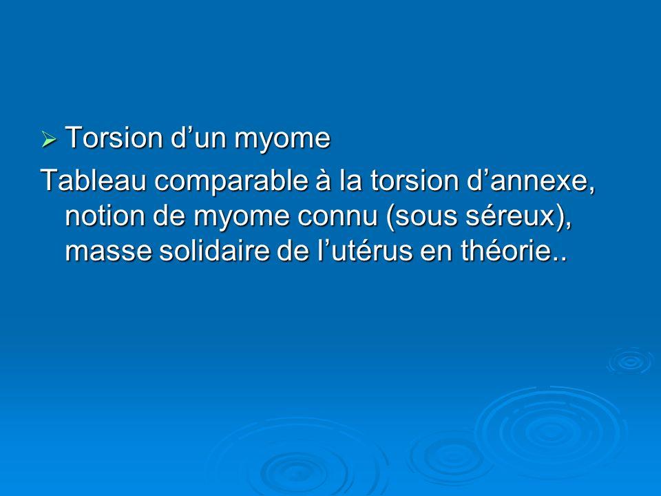 Torsion dun myome Torsion dun myome Tableau comparable à la torsion dannexe, notion de myome connu (sous séreux), masse solidaire de lutérus en théori