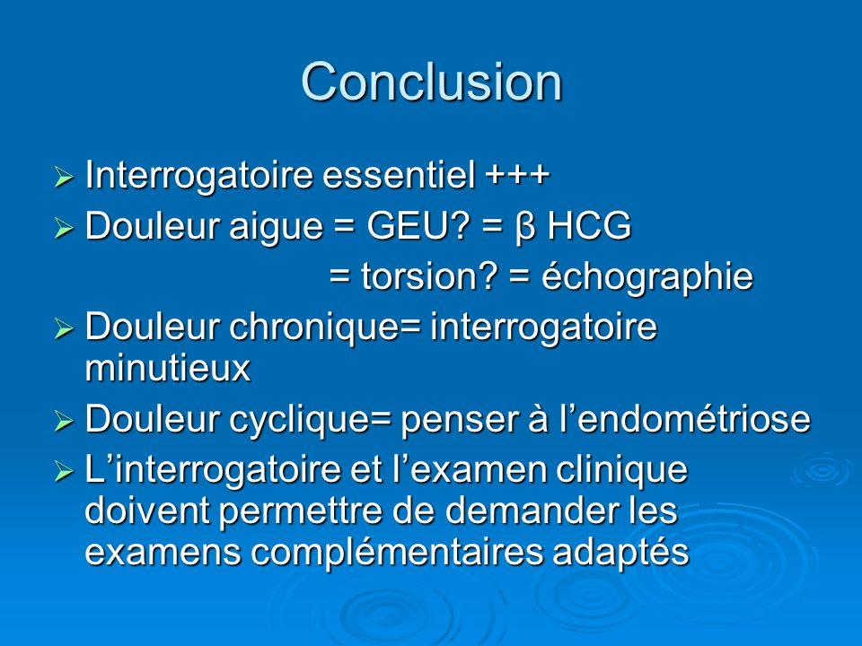 Conclusion Interrogatoire essentiel +++ Interrogatoire essentiel +++ Douleur aigue = GEU? = β HCG Douleur aigue = GEU? = β HCG = torsion? = échographi