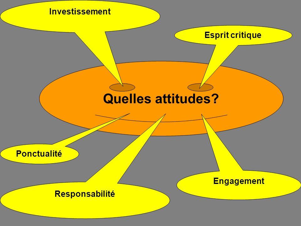 Quelles attitudes? Responsabilité Engagement Investissement Esprit critique Ponctualité