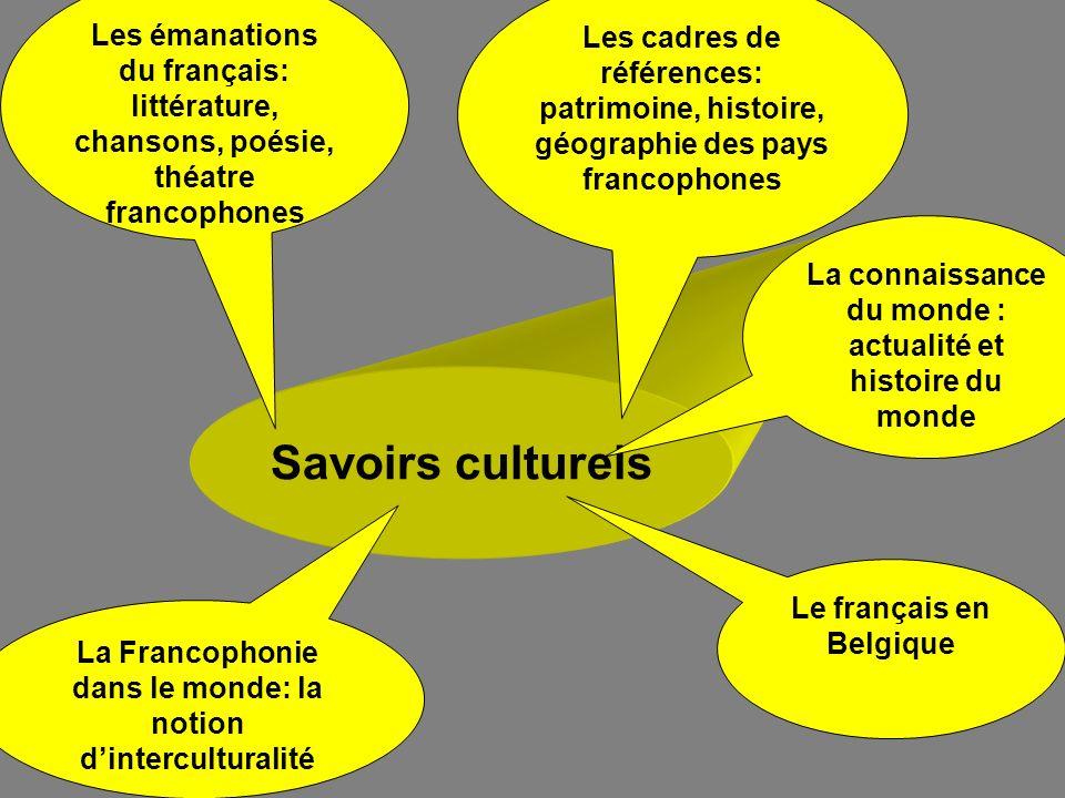 Savoirs culturels La Francophonie dans le monde: la notion dinterculturalité Le français en Belgique Les émanations du français: littérature, chansons