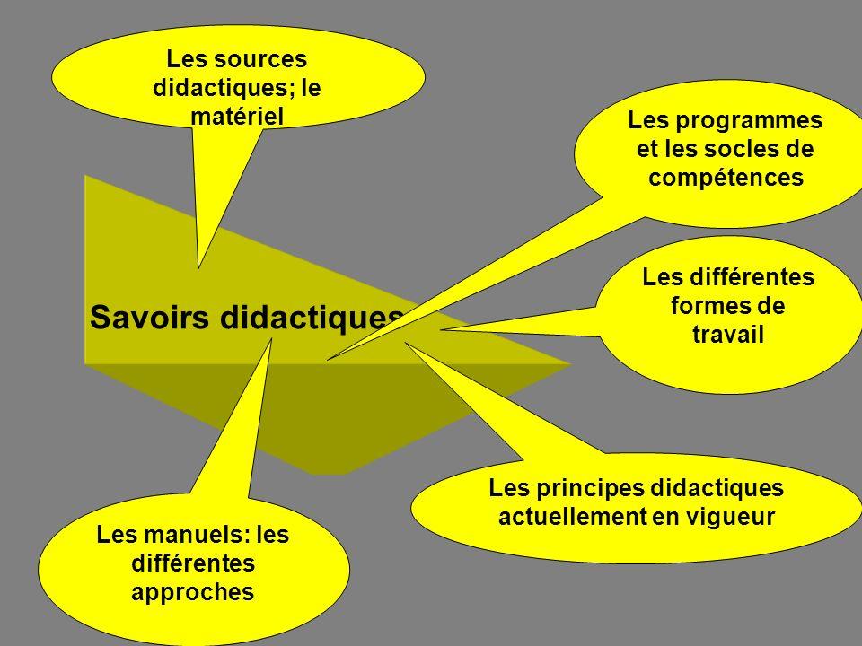 Savoirs didactiques Les programmes et les socles de compétences Les manuels: les différentes approches Les principes didactiques actuellement en vigue