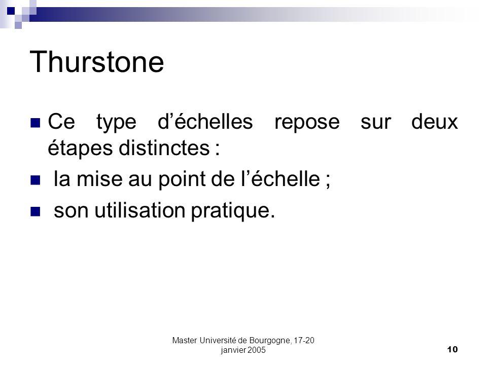 10 Thurstone Ce type déchelles repose sur deux étapes distinctes : la mise au point de léchelle ; son utilisation pratique.