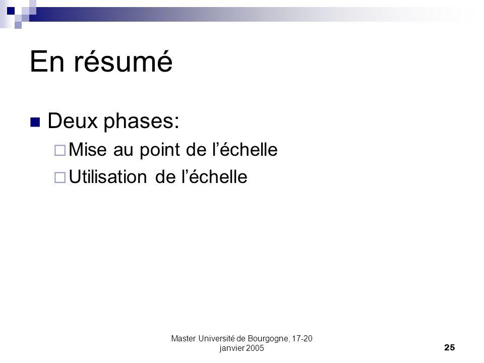 Master Université de Bourgogne, 17-20 janvier 200525 En résumé Deux phases: Mise au point de léchelle Utilisation de léchelle