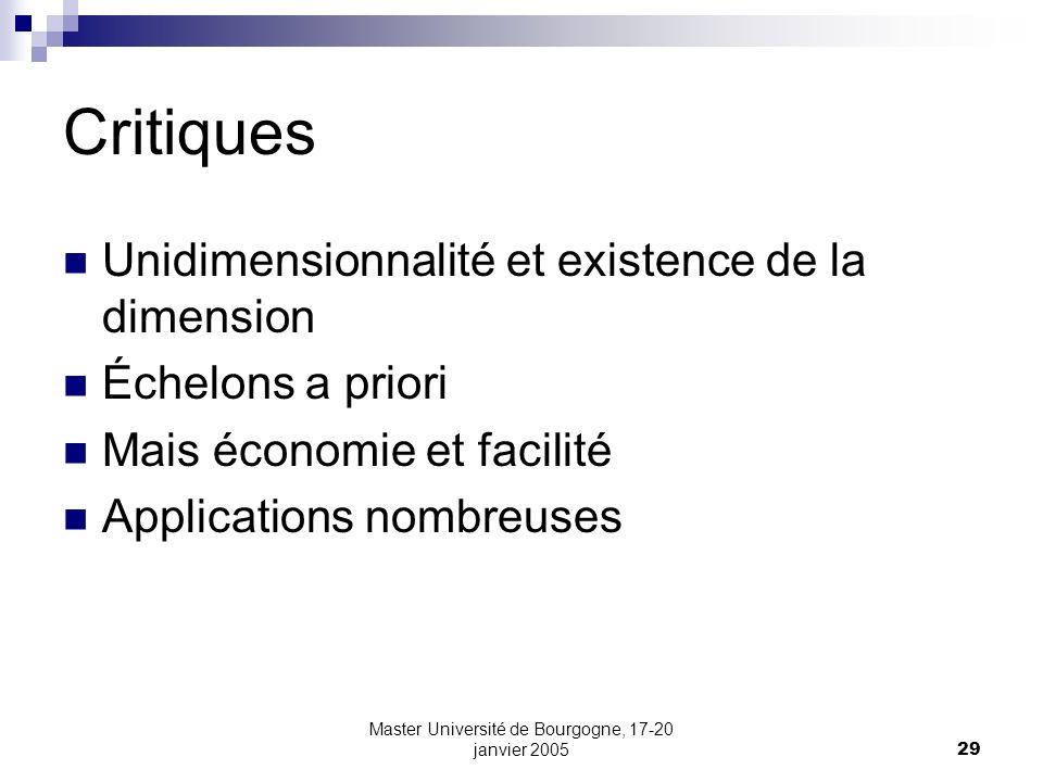 Master Université de Bourgogne, 17-20 janvier 200529 Critiques Unidimensionnalité et existence de la dimension Échelons a priori Mais économie et faci