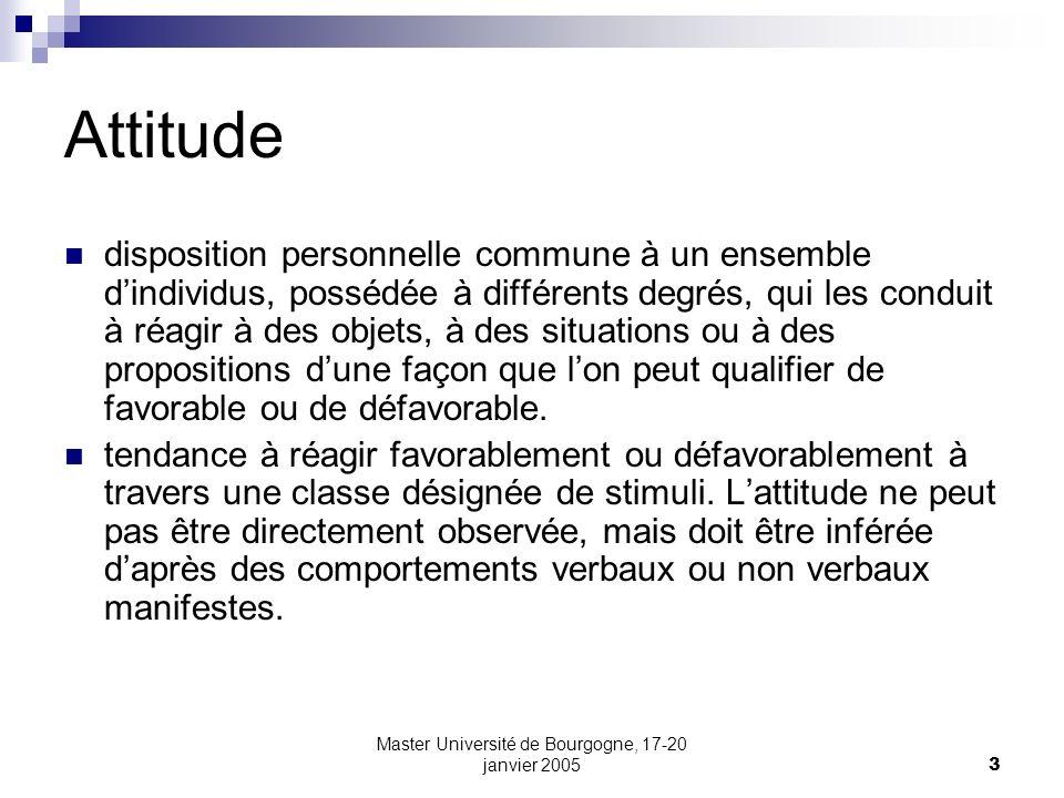 Master Université de Bourgogne, 17-20 janvier 20053 Attitude disposition personnelle commune à un ensemble dindividus, possédée à différents degrés, q