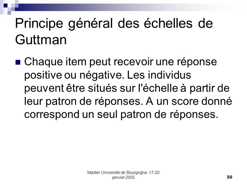 Master Université de Bourgogne, 17-20 janvier 200530 Principe général des échelles de Guttman Chaque item peut recevoir une réponse positive ou négati