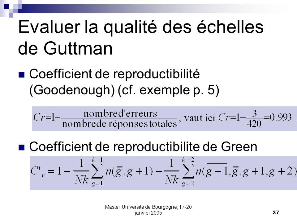 Master Université de Bourgogne, 17-20 janvier 200537 Evaluer la qualité des échelles de Guttman Coefficient de reproductibilité (Goodenough) (cf. exem