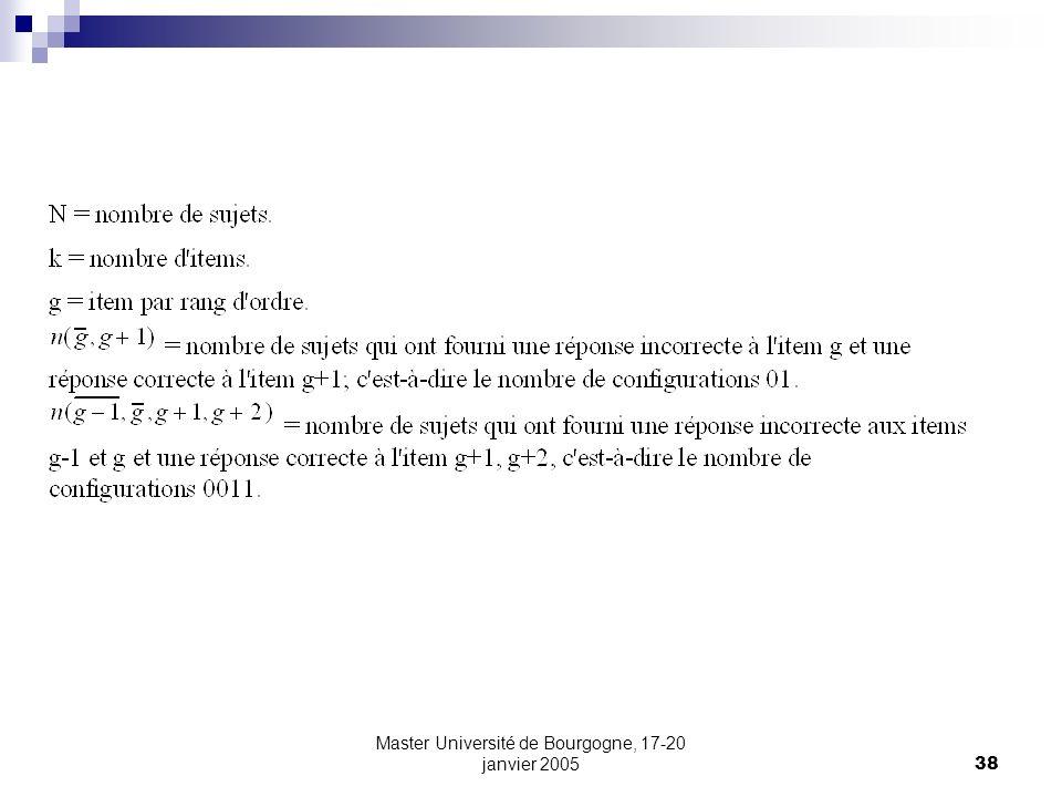 Master Université de Bourgogne, 17-20 janvier 200538