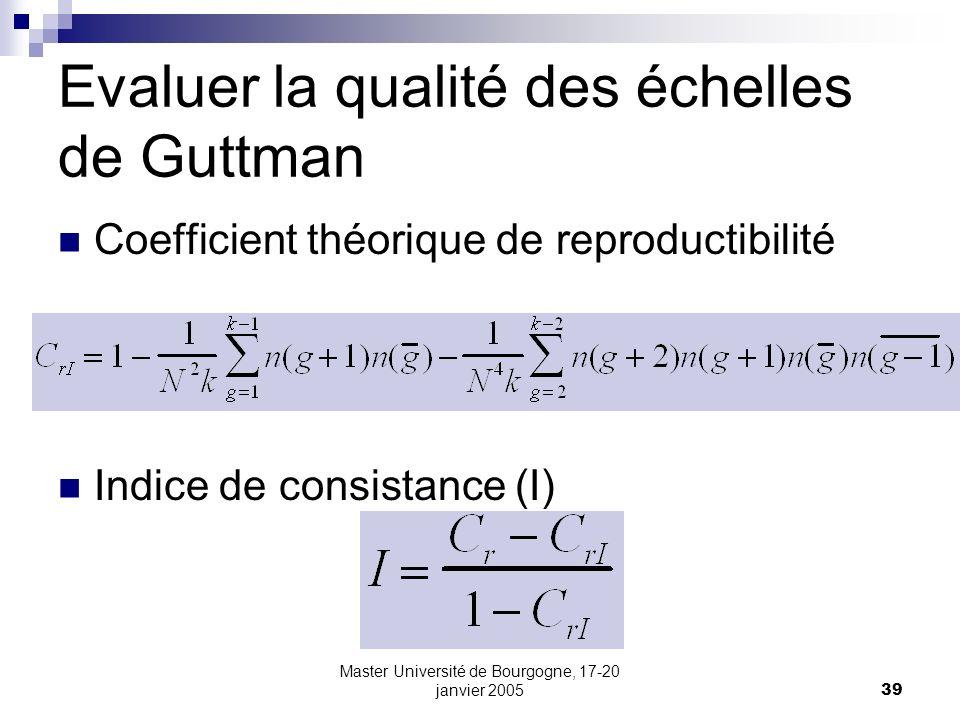 Master Université de Bourgogne, 17-20 janvier 200539 Evaluer la qualité des échelles de Guttman Coefficient théorique de reproductibilité Indice de co