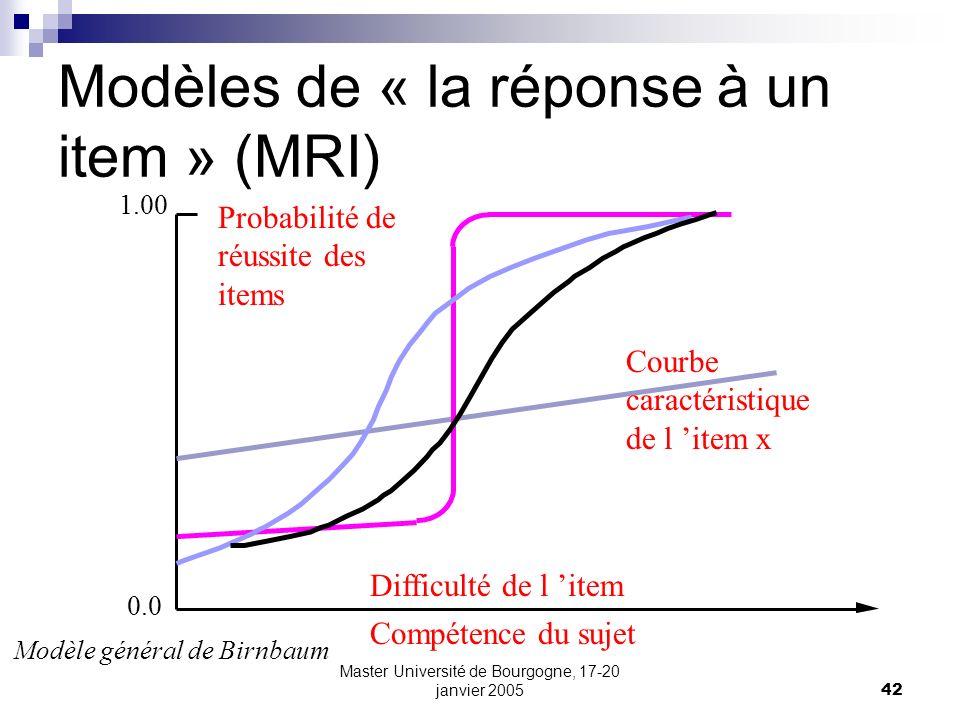 Master Université de Bourgogne, 17-20 janvier 200542 Modèles de « la réponse à un item » (MRI) 0.0 1.00 Modèle général de Birnbaum Compétence du sujet