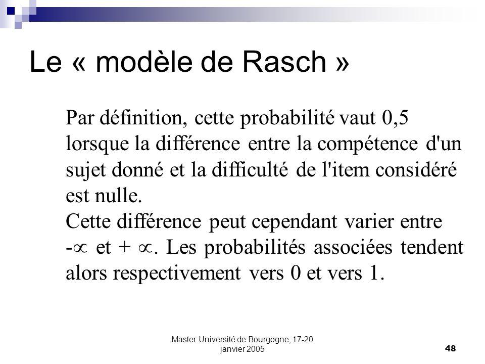 Master Université de Bourgogne, 17-20 janvier 200548 Le « modèle de Rasch » Par définition, cette probabilité vaut 0,5 lorsque la différence entre la