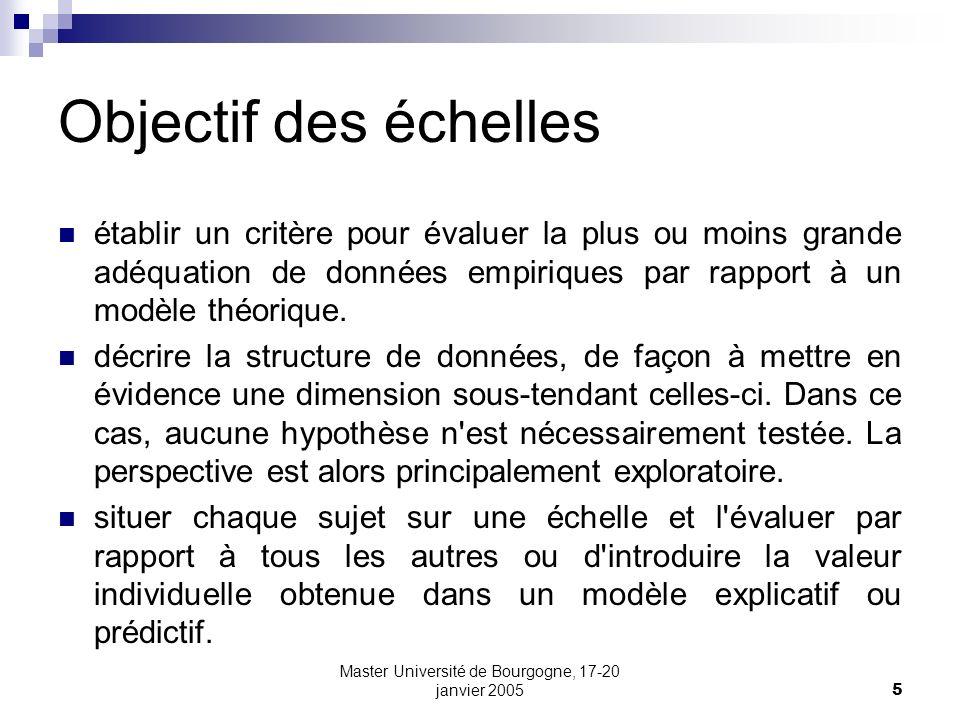Master Université de Bourgogne, 17-20 janvier 200546 Le « modèle de Rasch » Modèle de Rasch (à 1 paramètre) Compétence du sujet Difficulté de l item Probabilité de réussite des items Courbe caractéristique de l item x