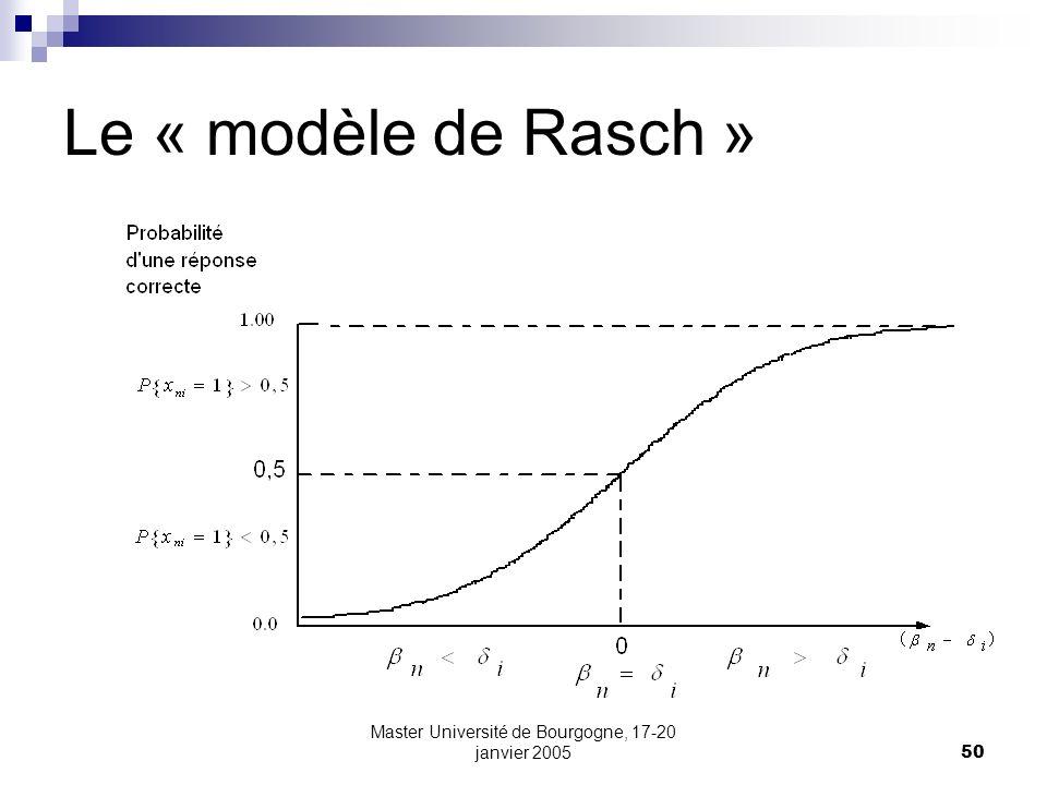 Master Université de Bourgogne, 17-20 janvier 200550 Le « modèle de Rasch »
